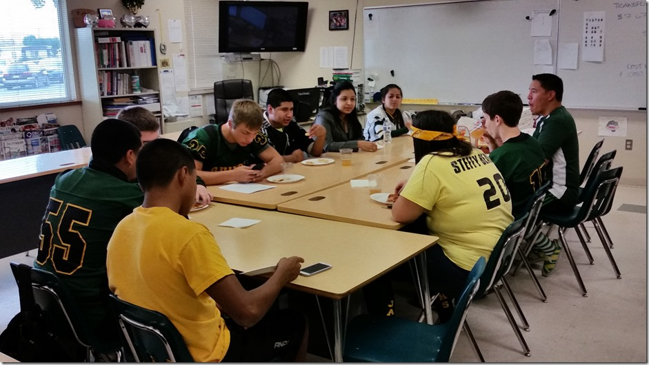 Trip to Quincy High School - Having lunch with my students and answering their questions.